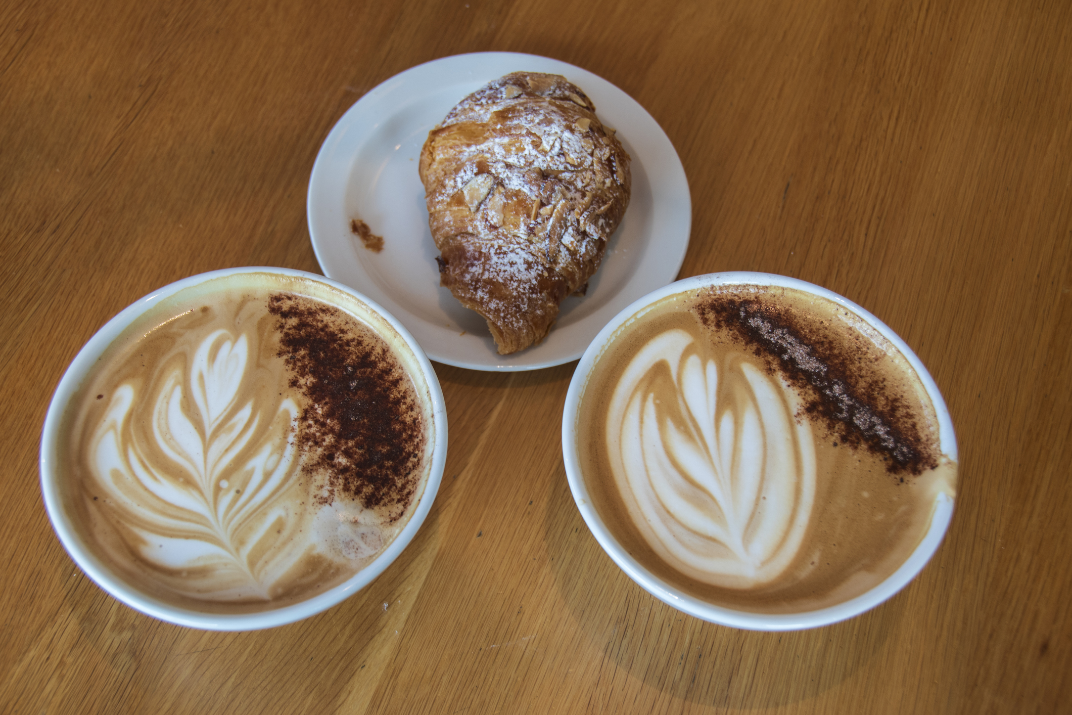 Two Cups of Cappuccino and a Pastry